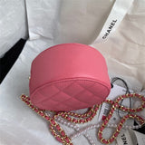 Chanel AS1898 small round bag shiny lambskin Pink
