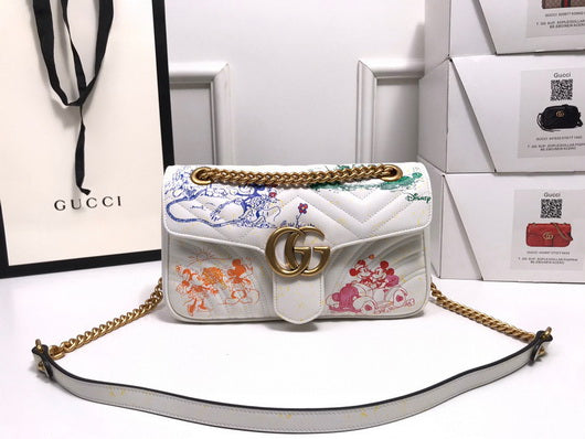Gucci 443497 GG Marmont matelassé and Disney  shoulder bag white