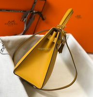 Hermes Kelly 20320  Designer Tote shoulder Leather bag  28 32cm Yellow gold