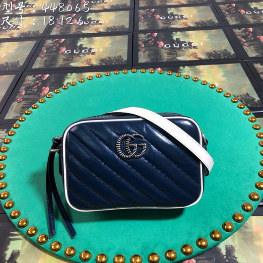 Gucci 448065 GG Marmont matelasse mini tote Shoulder bag navy blue