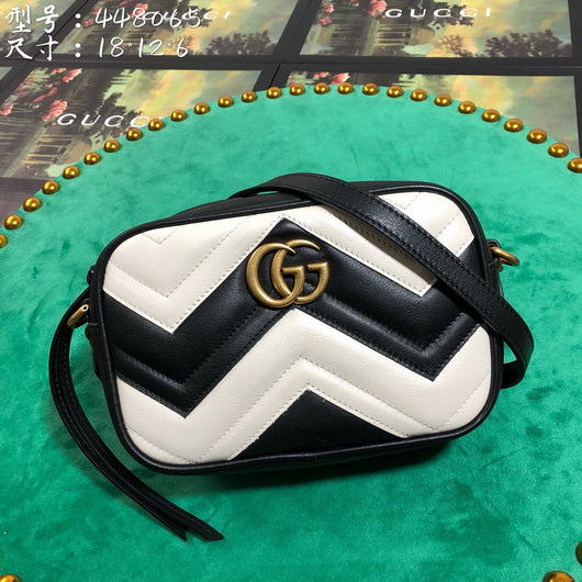 Gucci 448065 GG Marmont matelasse mini tote Shoulder bag White Black