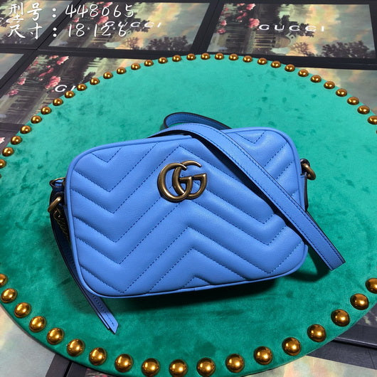 Gucci 448065 GG Marmont matelasse mini Shoulder bag Blue