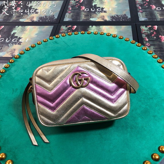 Gucci 448065 GG Marmont matelasse mini tote Shoulder bag Gold Purple
