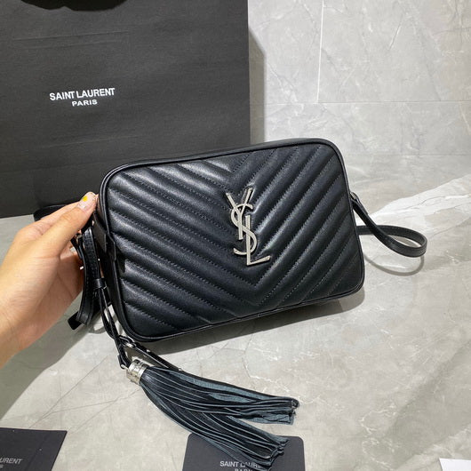 YSL 520534 Saint Laurent Lou Camera Shoulder Bag Black silver