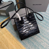 Balenciaga 597858 528655 Shopping tote XXS Logo print bag Black