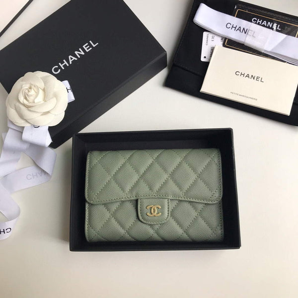 Chanel A31506 Classic Flap Wallet Grained Calfskin Green