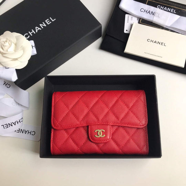 Chanel A31506 Classic Flap Wallet Grained Calfskin Red