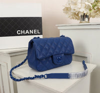 Chanel AS1784 Flap Bag Chanel Calfskin Shoulder bag Blue