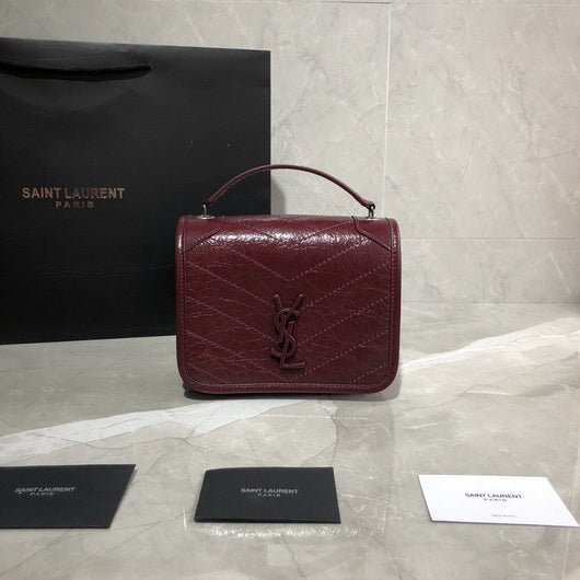 Saint Laurent YSL 583103 NIKI Chain Wallet IN Crinkled Vintage Leather Wine Red