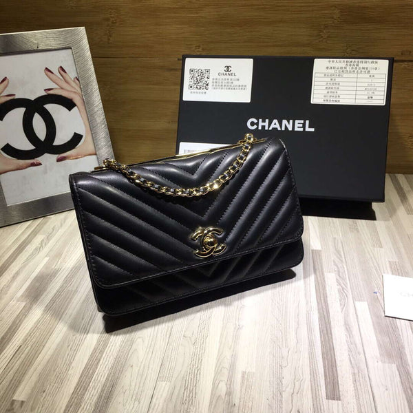 Chanel A80972 Wallet on Chain V Grid Lambskin Bag Black
