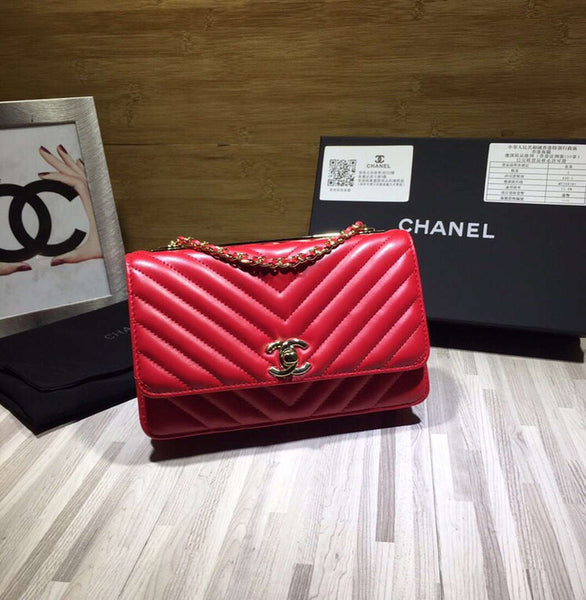 Chanel A80972 Wallet on Chain V Grid Lambskin Bag Red