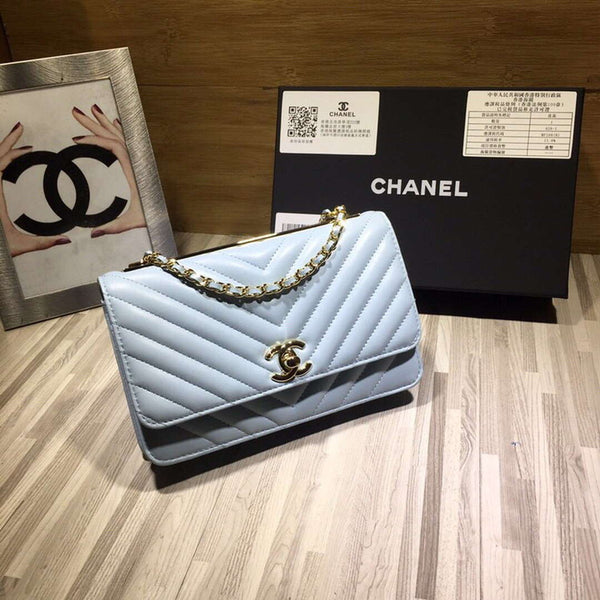 Chanel A80972 Wallet on Chain v Grid Lambskin Bag Light Blue
