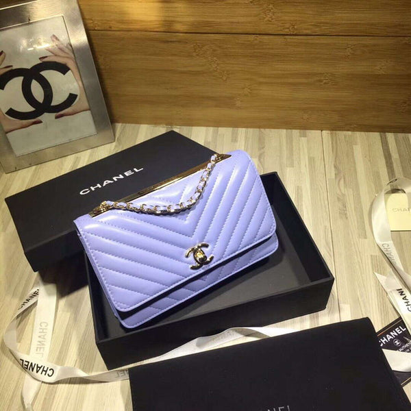 Chanel A80972 Wallet on Chain V Grid Lambskin Bag Blue
