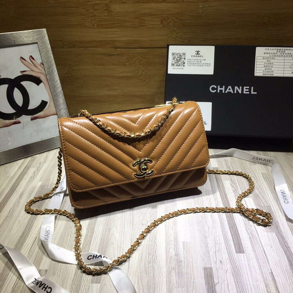 Chanel A80972 Wallet on Chain V Grid Lambskin Bag Brown
