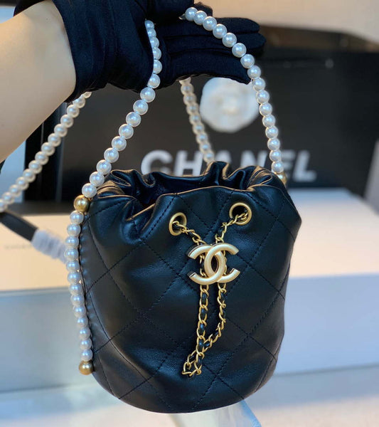 Chanel AS2253 drawstring Bucket Lambskin Pearl chain bag Black