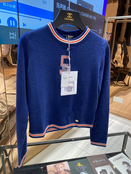 Chanel Women's Sweaters Designer Chanel Sweatshirts Clothing 38083 Blue