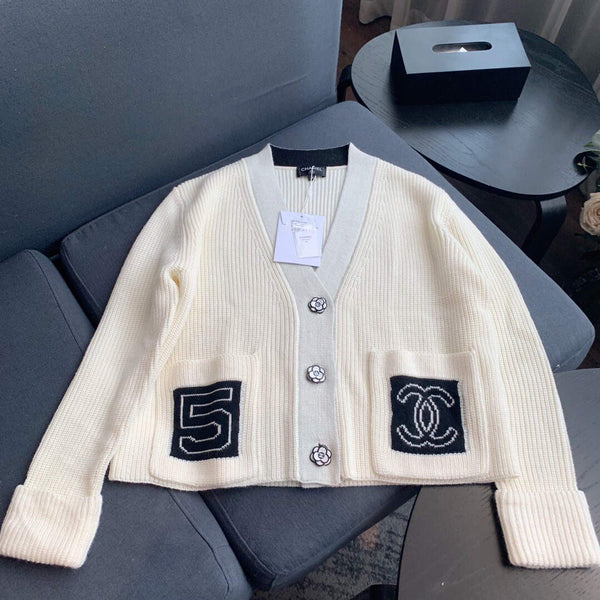 Chanel Women's Cardigans Designer Chanel Sweatshirts Clothing 38081 White