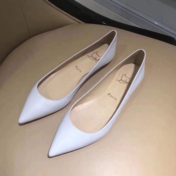 Christian Louboutin Red Sole Loafers Designer CL Shoes 81133 White