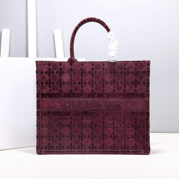 Dior M1286 Book Tote Bag Wine red Camouflage Embroidery