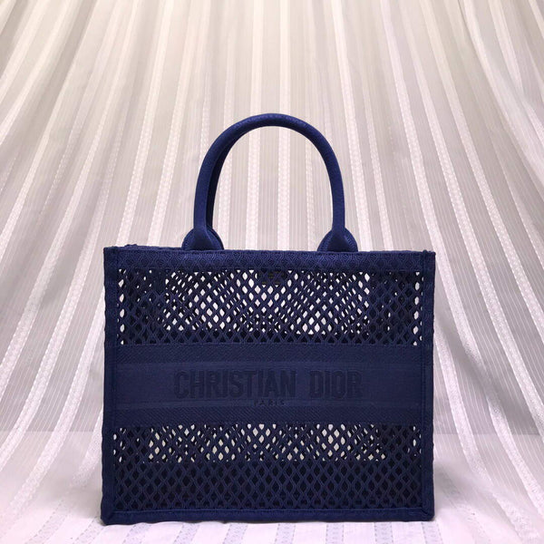 Dior M1286 Small Book tote blue mesh Embroidery bag