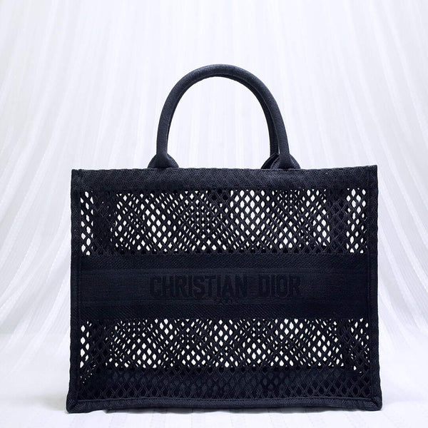 Dior M1286 Small Book tote navy blue mesh Embroidery bag