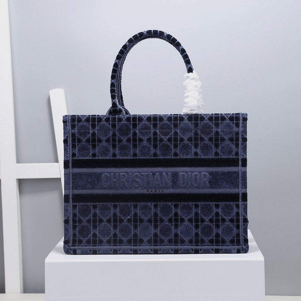 Dior M1286 Small Book Tote Bag Blue Cannage Embroidered Velvet