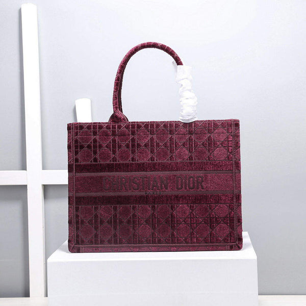 Dior M1286 Small Book Tote Bag Wine red Camouflage Embroidery