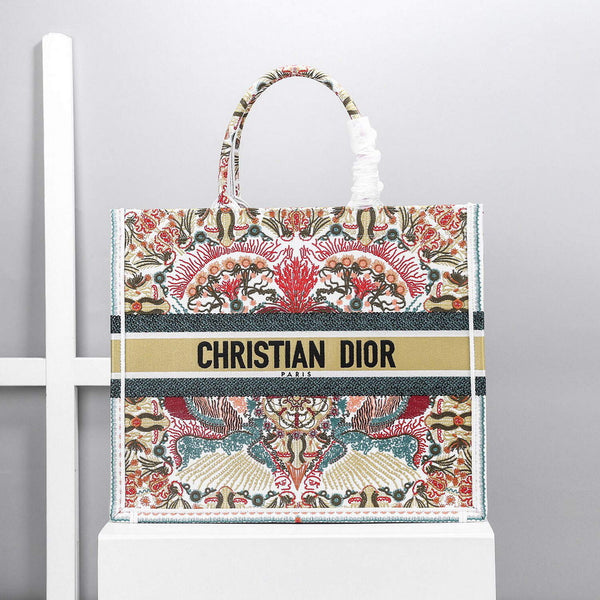 Dior M1296 Book Tote Christian Dior Beige Red adn green