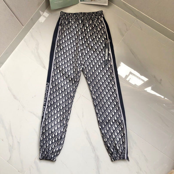 DIOR OBLIQUE Velvet Effct Pants 30003 Navy Blue and White