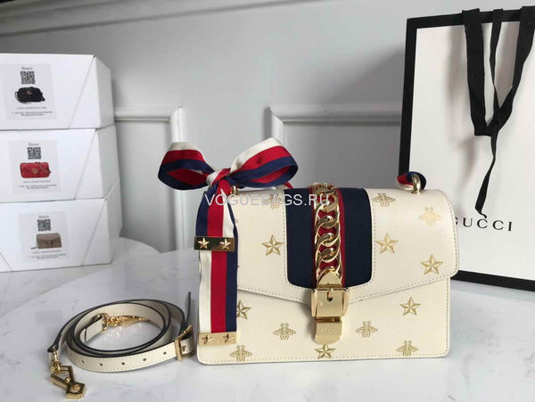 Gucci 524405 GG Sylvie Bee Star small shoulder bag White