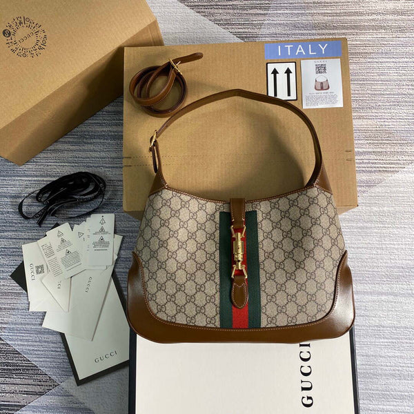 Gucci 636710 GG Jackie 1961 Medium Hobo bag Red and green