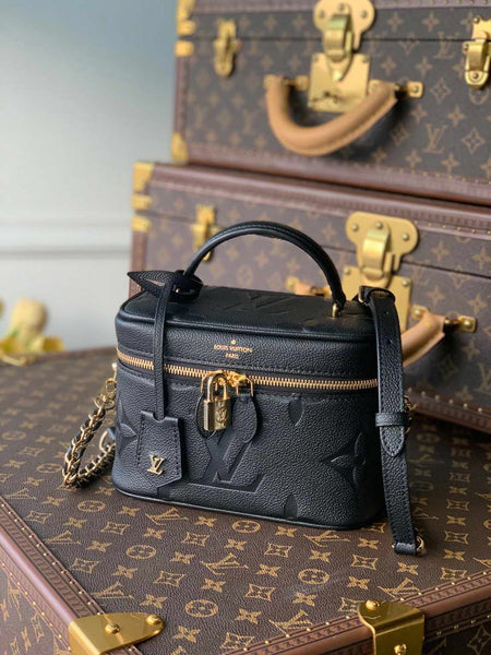 LV M45598 Louis Vuitton Vanity Pm Monogram Empreinte Leather M45608 Black