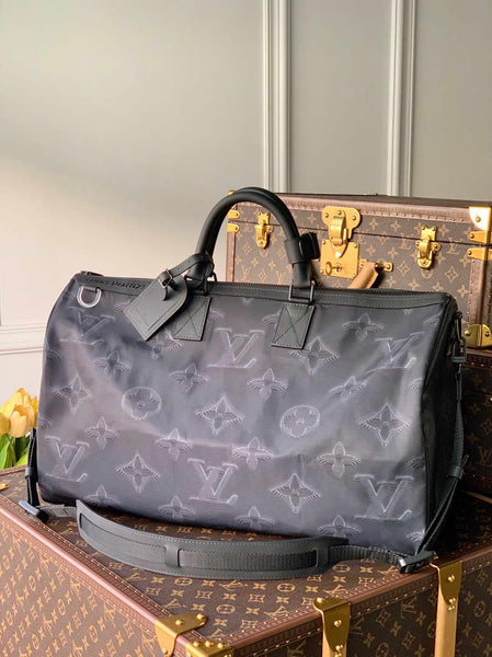 LV M45602 Louis Vuitton 2054 Reversible Keepall Bandouliere 50 Monogram Black and Green