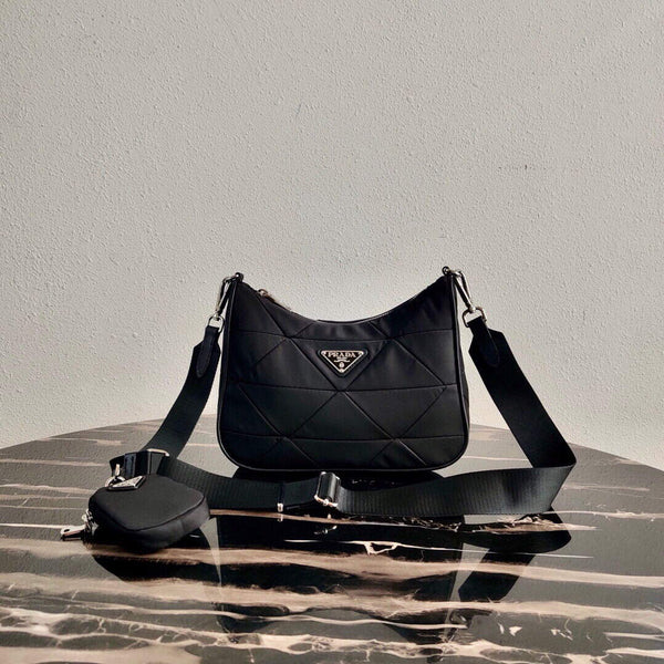 Prada 1BC151 Prada Padded Parachute cloth Shoulder Bag Black