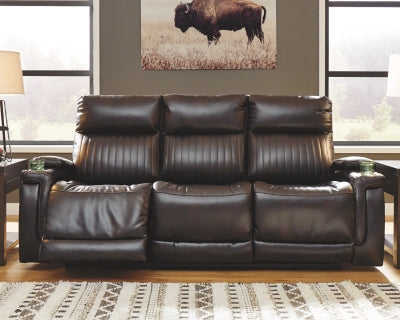 Team Time Signature Design by Ashley PWR REC Sofa with ADJ Headrest