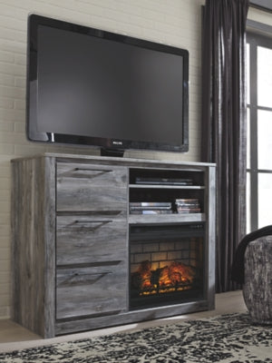 Baystorm Signature Design by Ashley Media Chest with Electric Fireplace