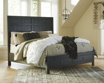 Noorbrook Benchcraft King Panel Bed with 2 Storage Drawers