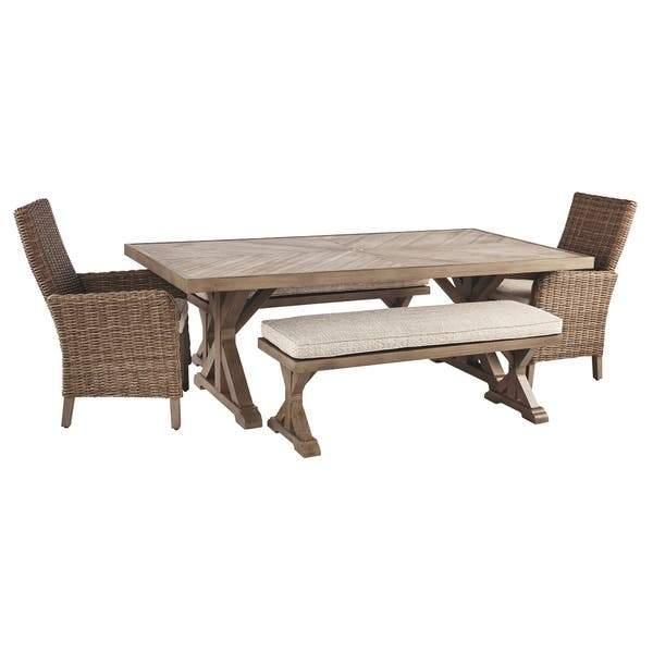 Beachcroft Signature Design By Ashley 5-Piece Outdoor Dining Set w/ Bench