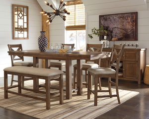 Moriville Signature Design 7-Piece Counter Height Dining Room Package
