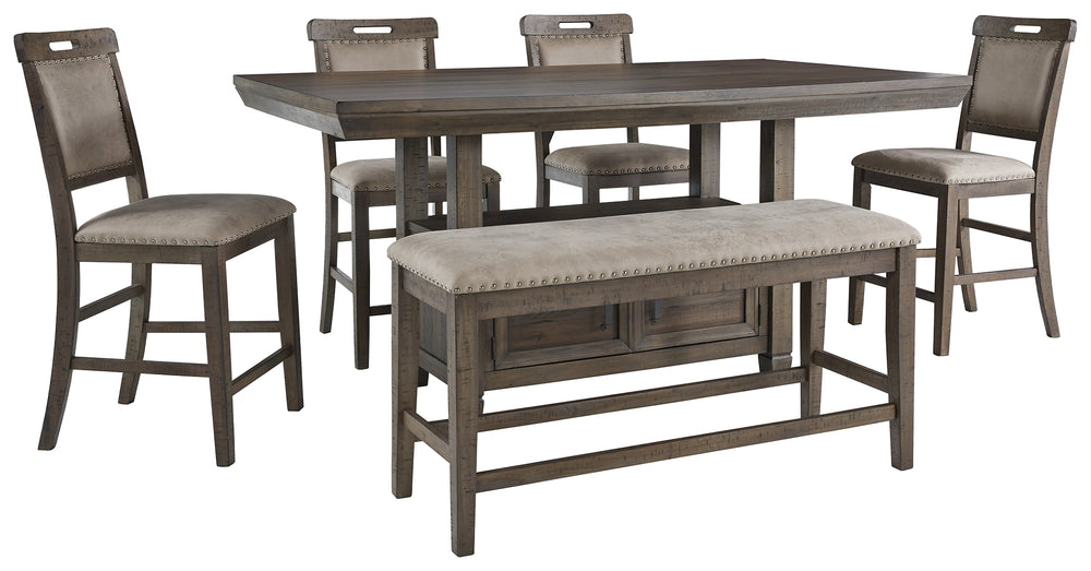 Johurst Benchcraft 6-Piece Counter Height Dining Room Package