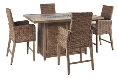 Beachcroft Signature Design By Ashley 5-Piece Outdoor Bar Table Set