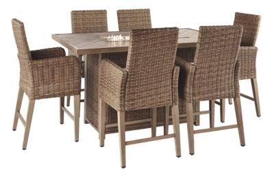 Beachcroft Signature Design 7-Piece Outdoor Bar Table Set
