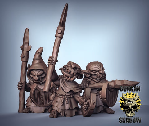 Goblins with Spear and shield (hooded)