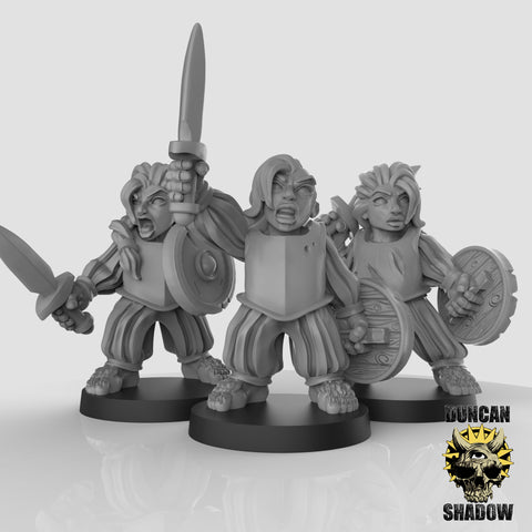 Female Halflings with Sword and Shield