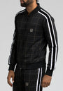 STRIPED GLEN PLAID TRACK JACKET