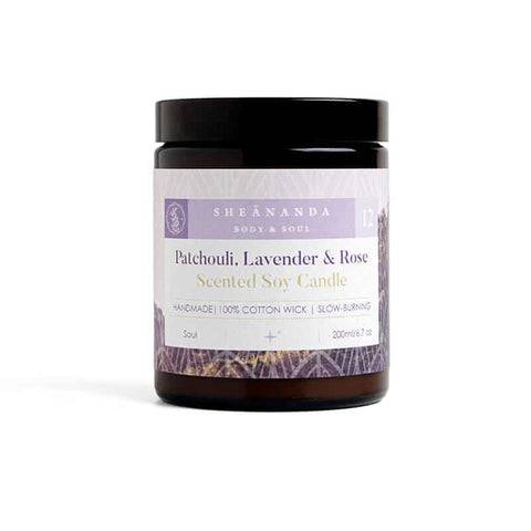 Image of Patchouli-Scented-Soy-Candle-Lavende