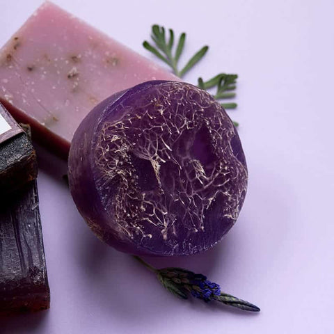 Image of soap-loofah-lavender