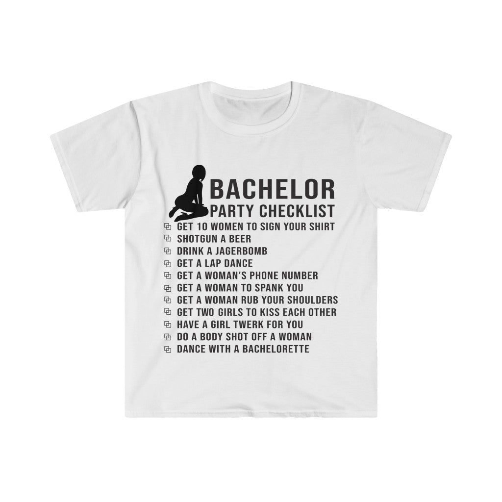 Bachelor Party Checklist T-shirt  Funny Graphic Unisex Tee For Birthday Gift | Gift To Him