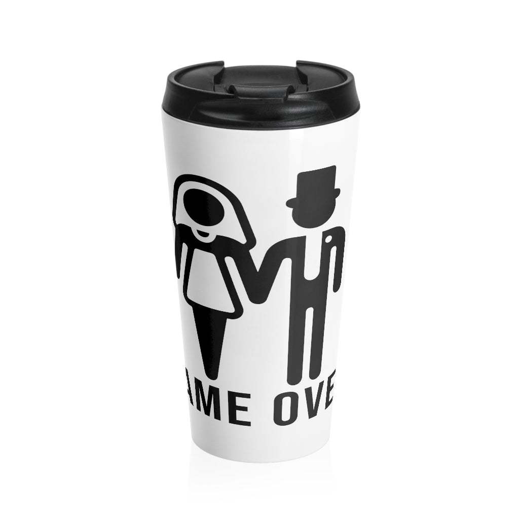 Game Over Graphic Print Stainless Steel Travel Coffee Mug For Women With Wrap Lead And Stainless Steel Interior