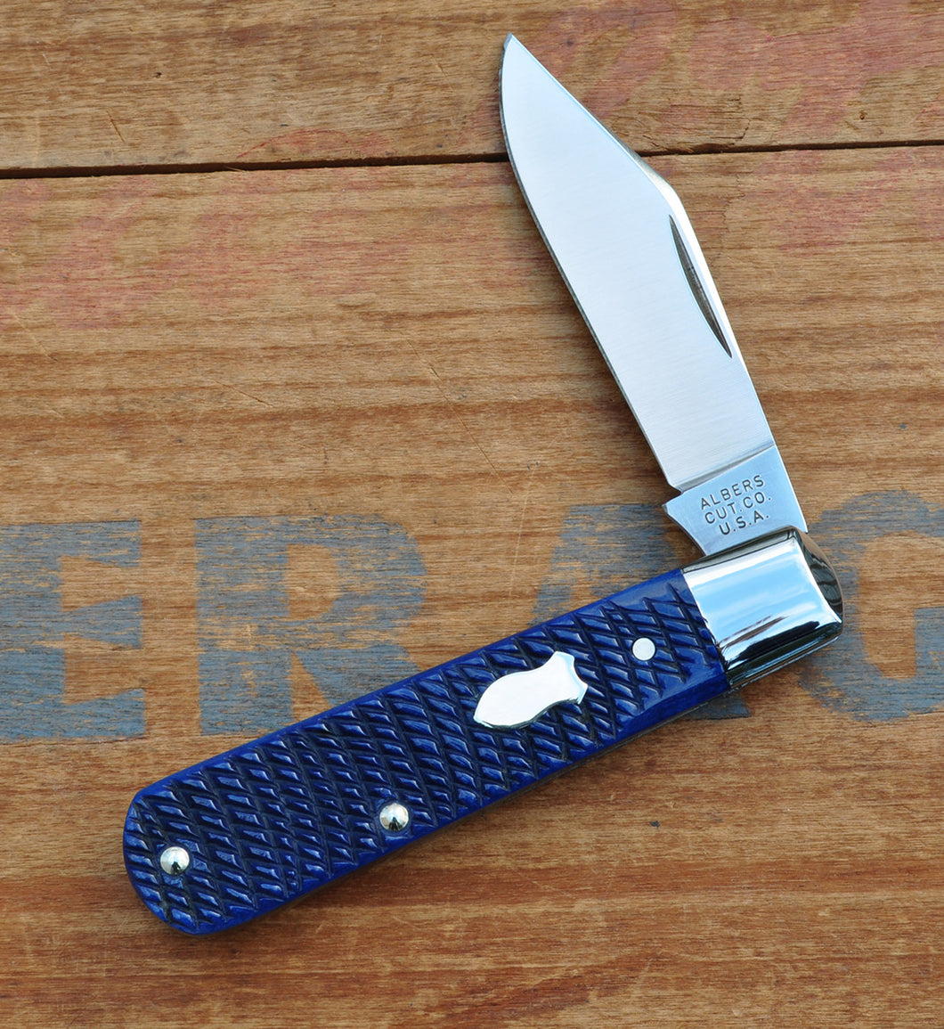 Blue Rope Jigged Bone Single Clip Blade Knife